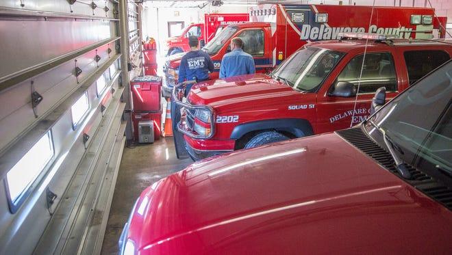 Delaware County Emergency Medical Service ambulances.