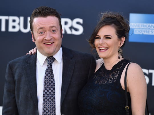 """Neil Casey and his wife Meredith arrive at the premiere of """"Ghostbusters"""" at TCL Chinese Theatre last summer in Hollywood, California."""