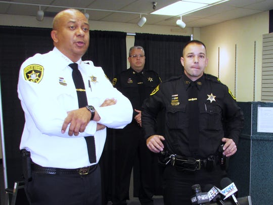 Chemung County Sheriff Christopher Moss answers questions