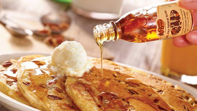 Buttermilk pancakes at Cracker Barrel are crunchy on the outside, soft and delicate on the inside.