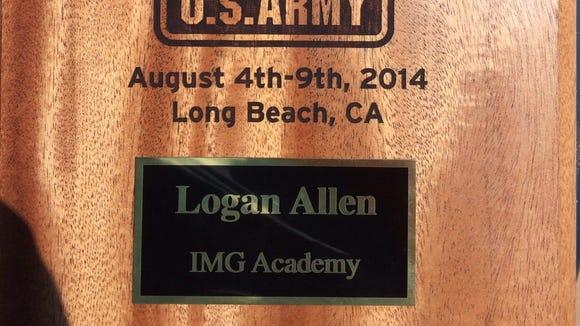 Fletcher's Logan Allen won an award presented by the U.S. Army on Thursday in Long Beach, Calif.
