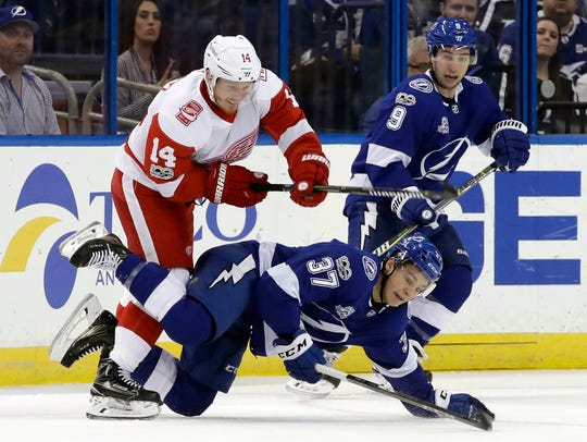Red Wings right wing Gustav Nyquist (14) dumps Lightning