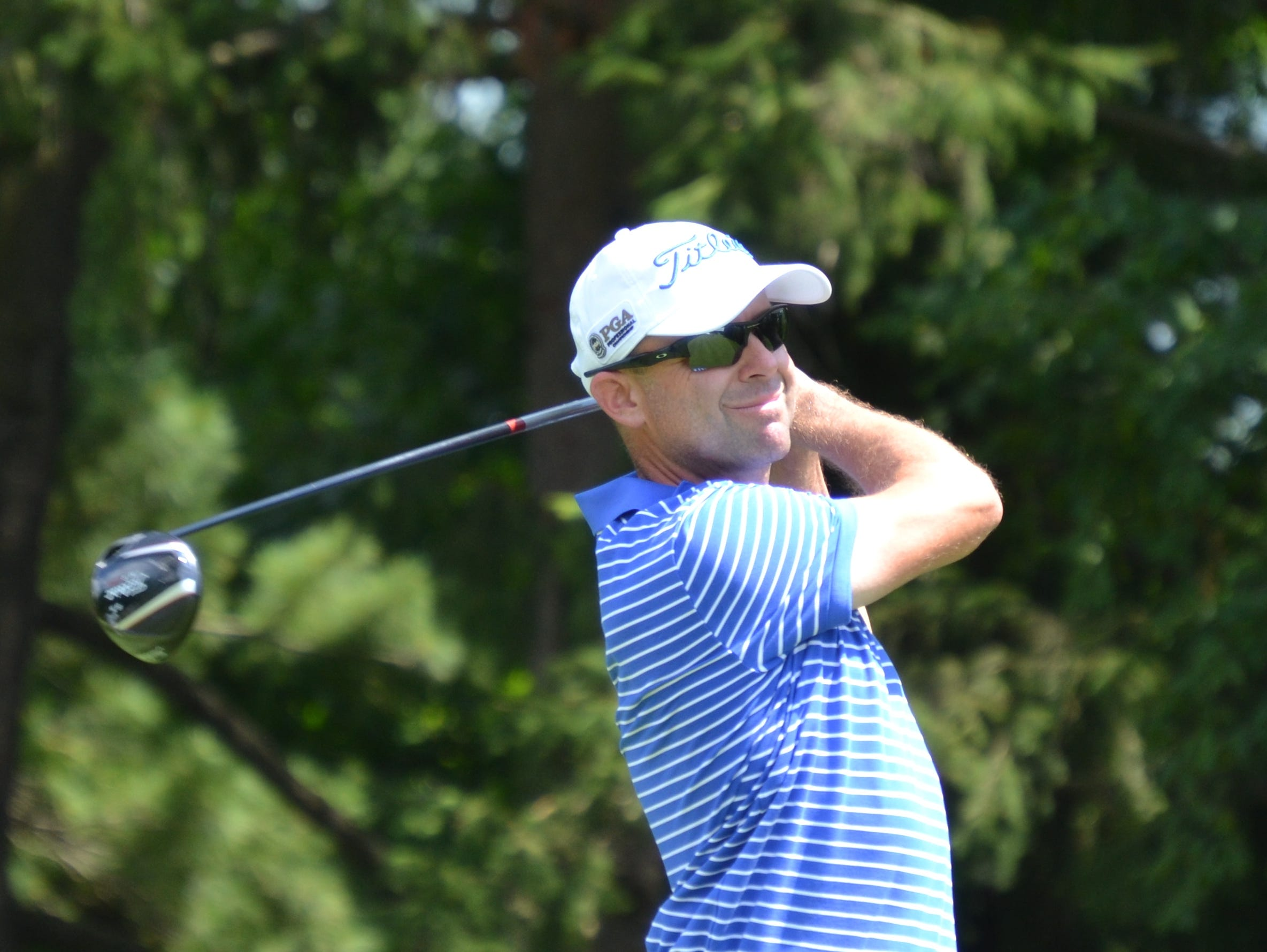 Rob Labritz tees off in the final round of the Westchester Open Wednesday at GlenArbor Golf Club.