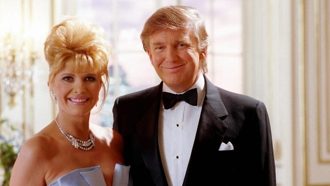 Ivana and Donald Trump filming a Pizza Hut ad, New York, March 27x, 1995.