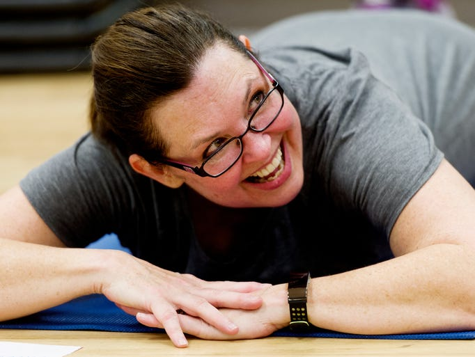 Sharon Pooley laughs during her New U fitness training
