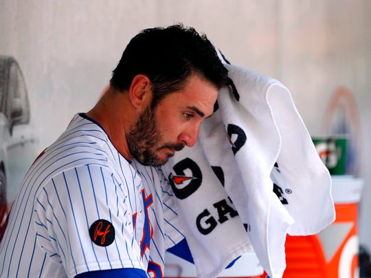 May 3, 2018; New York City, NY, USA;   New York Mets starting pitcher Matt Harvey (33) sits in the dugout after leaving the game in the seventh inning against the Atlanta Braves at Citi Field.