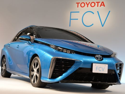 The Toyota Hydrogen Fuel Cell Vehicle Fcv At Its Press Preview In June
