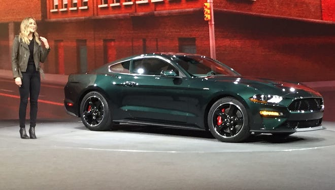 Molly McQueen introduces the Mustang Bullitt at Cobo Center in Detroit at the Detroit Auto Show on Sunday, January 14.