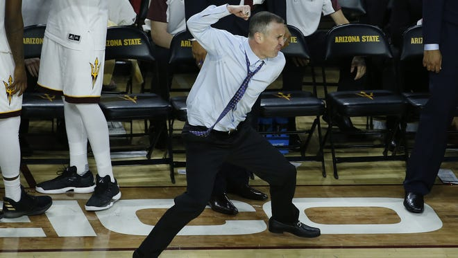 ASU's head coach Bobby Hurley reacts after a call against Colorado in the second half at Wells Fargo Arena on January 5, 2017 in Tempe, Ariz. ASU would go on to win 78-77.