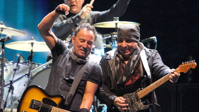 "Shown during ""Wrecking Ball"" at MetLife Stadium in East Rutherford, New Jersey, Tuesday, Aug. 23, 2016, are Bruce Springsteen and Steven Van Zandt along with Max Weinberg."