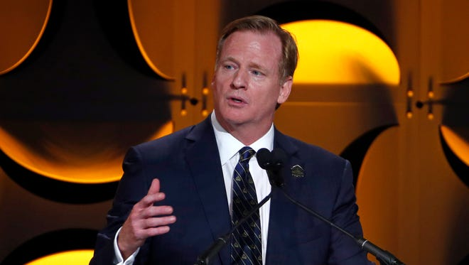 NFL commissioner Roger Goodell addresses the Pro Football Hall of Fame Gold Jacket Ceremony in Canton, Ohio, Aug. 6, 2015.