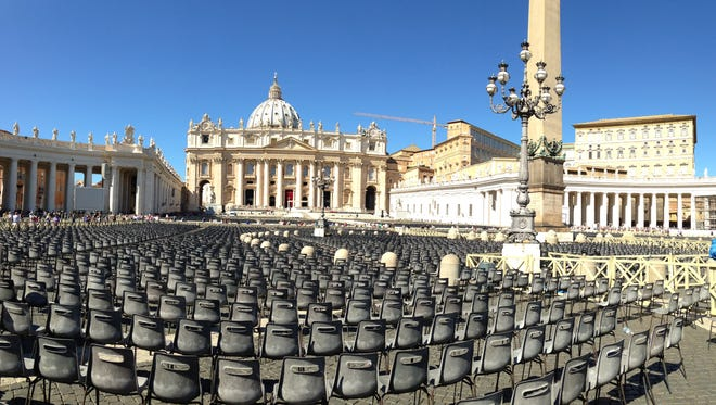 St. Peter's Square one year ago just before Pope Francis was to celebrate Mass on a Wednesday morning.