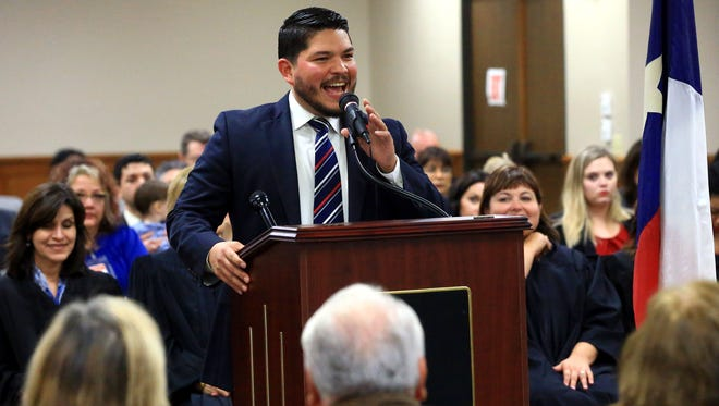 Nueces County District Attorney Mark Gonzalez talks to friends and family before he was sworn in Thursday, Jan. 12, 2017, at the Nueces County Courthouse in Corpus Christi.