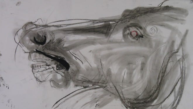 """Fragments 2"" by Susan Kendrot shows her drawing of one of the Elgin Marbles."