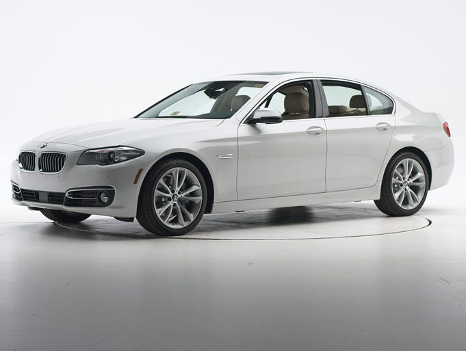 """The 2014 BMW 5 Series was one of eight vehicles to earn the top rating of """"superior"""" in Insurance Institute for Highway Safety testing of 24 large and midsize vehicles currently offered with high-tech front crash avoidance systems."""
