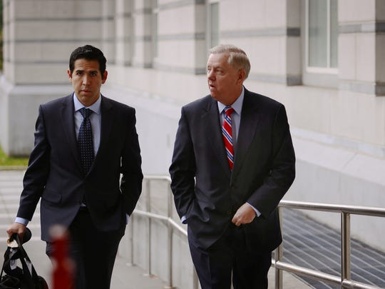 U.S. Sen.Lindsey Graham arrives at Martin Luther King Jr. Federal Court for Sen. Menendez ongoing trial on federal corruption charges on Thursday, October 26, 2017 in Newark, NJ. Photographed in Newark on 10/26/17.
