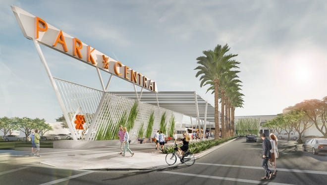 An artist's rendering of what the outside of Park Central Mall in Phoenix will look like after the upgrades are completed. Construction is expected to start in October or November 2017.