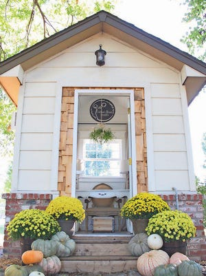 Interior decorator Erin Kerns transformed an 80 square-foot potting shed into this charming she shed in Owasso, Okla.