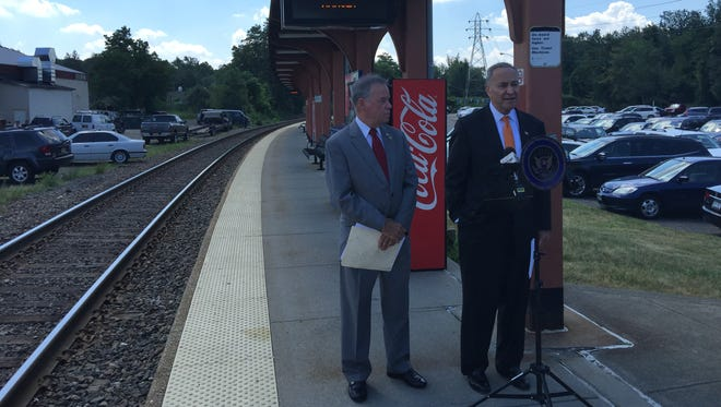 Speaking at the Nanuet train station, U.S. Sen. Charles Schumer, right, and Rockland County Executive Ed Day last month called on the MTA to provide late-night bus service to the county to replace a train that NJ Transit was eliminating.