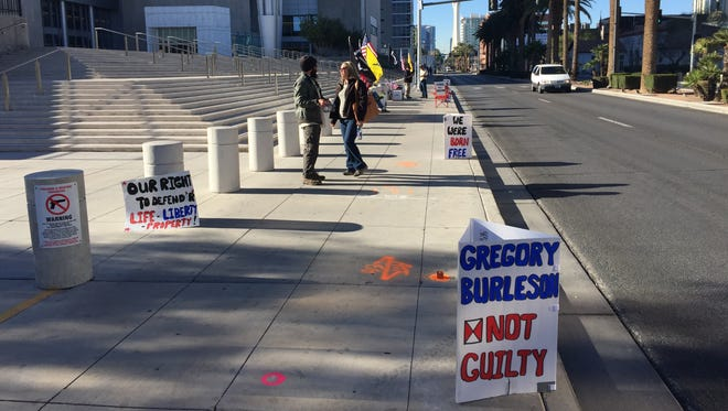 Supporters of Cliven Bundy and others charged in the Bundy Ranch case maintain a vigil on weekdays when court is in session. Here, they gather outside the U.S. District Courthouse in Las Vegas on March 2, 2017.