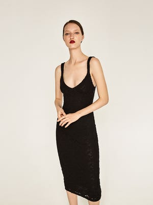 Lace shift dress, $69.90 at zara.com
