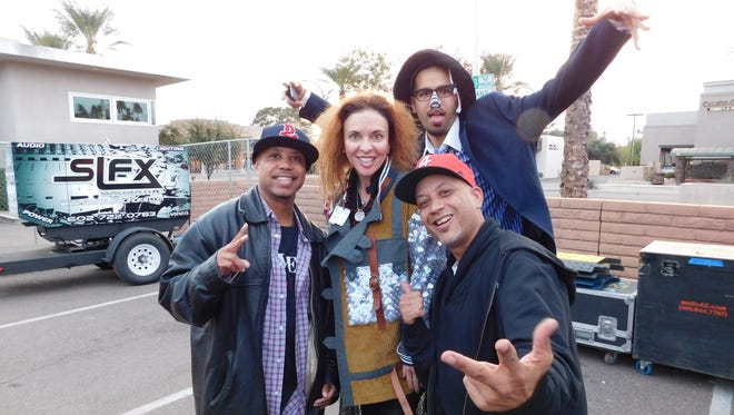 Jordan Rose with the members of Digital Underground outside the Coach House.