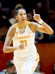 Tennessee's Mercedes Russell (21) reacts after making a point during a game between the Tennessee Lady Vols and Wichita State at Thompson-Boling Arena in Knoxville, Tennessee on Monday, November 20, 2017.