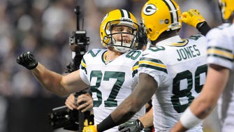 Jordy Nelson (87) and James Jones (89) are two of the many top Packers receivers who finished their careers elsewhere.