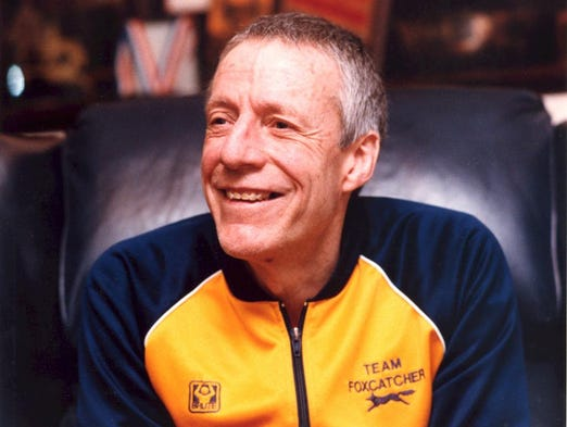 John du Pont wears his Team Foxcatcher track jacket while photographed at his home in Feb. 1992.