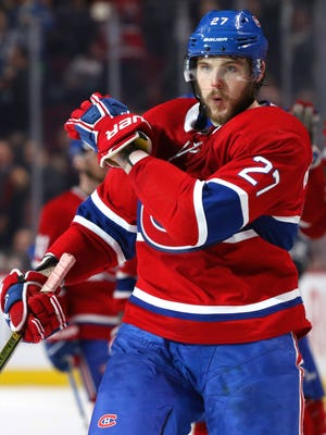 Apr 3, 2018; Montreal, Quebec, CAN; Montreal Canadiens left wing Alex Galchenyuk (27) reacts after scoring a goal against Winnipeg Jets during the third period at Bell Centre.