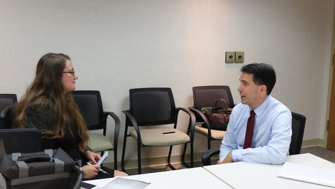 Governor Scott Walker sits down with Sheboygan Press reporter Leah Ulatowski for an exclusive interview during a stop at the Sheboygan County Administration Building on Thursday, Sept. 1.