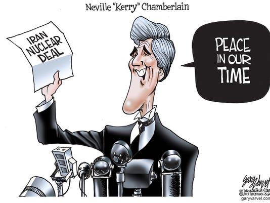 Cartoonist Gary Varvel: John Kerry as Neville Chamberlain