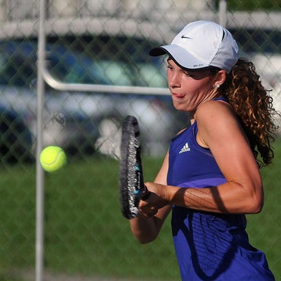 Sylvia Goldsmith backhands the ball during Monday's