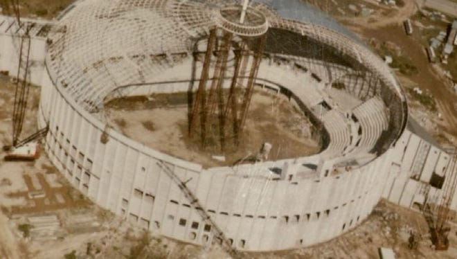 An aerial view of the Cajundome under construction.