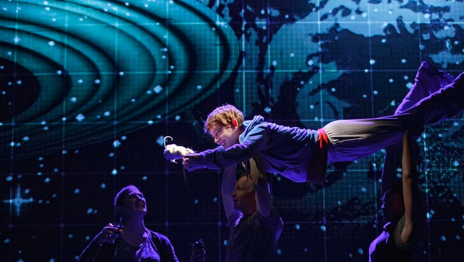 """Alex Sharp appears in a scene from the National Theatre production of """"The Curious Incident of the Dog in the Night-Time,"""" running on Broadway at the Barrymore Theatre in New York."""
