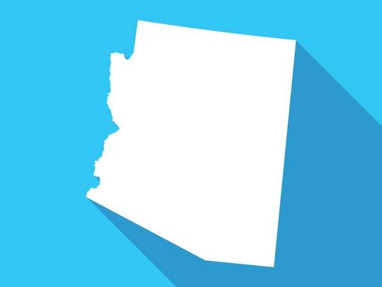 Arizona long shadow map in white on a blue background