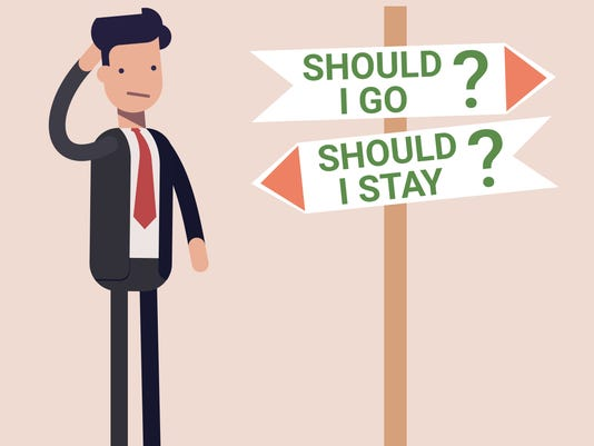 Businessman or manager stands by the road sign and makes a choice to stay or go on. Flat vector illustration.