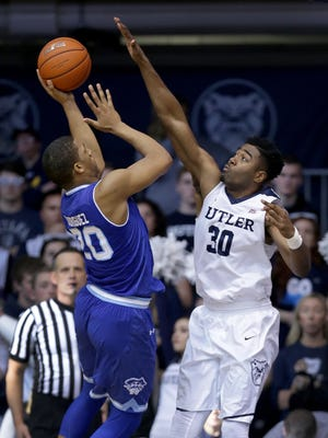 Butler Bulldogs forward Kelan Martin (30) defends the shot by Seton Hall Pirates forward Desi Rodriguez (20) in the second half Big East basketball game Saturday, March 4, 2017, evening at Hinkle Fieldhouse.