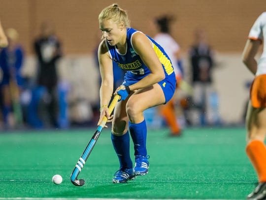 Delaware's Greta Nauck looks for room to operate