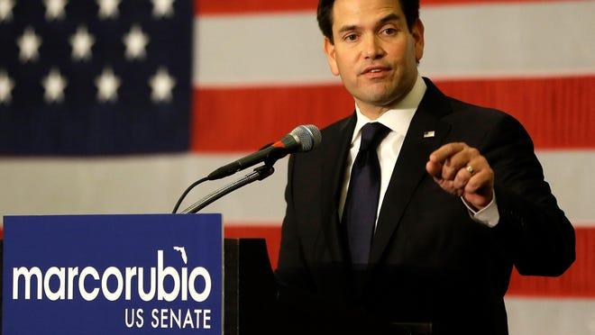 Sen. Marco Rubio, R-Fla. primary election party, Tuesday, Aug. 30, 2016, in Kissimmee, Fla. (AP Photo/John Raoux)