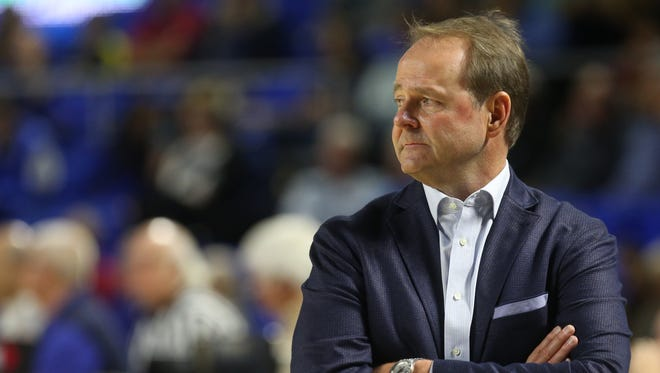 MTSU men's head coach Kermit Davis walks the sidelines in this file photo. The Blue Raiders lost their Conference USA opener at UAB on Sunday.