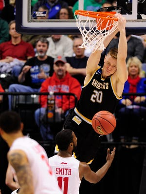 Wichita State Shockers center Rauno Nurger (20) dunks against the Dayton Flyers during the second half in the first round of the 2017 NCAA Tournament at Bankers Life Fieldhouse.