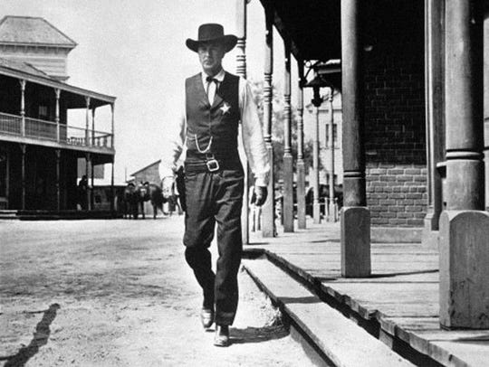 Gary Cooper plays Marshal Will Kane, who singlehandedly takes on a gang of killers at high noon. (Credit: United Artists)
