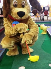 Browser the Dog lines up his shot at the Charter Communications hole at the second Browser Open held in 2016. Browser Open III, an 18-hole mini golf event inside the downtown Fond du Lac Public Library, will be held 11 a.m. to 4 p.m. Sunday, March 18. Tickets are available at the door.