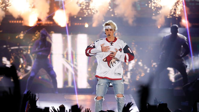 Justin Bieber performs during his Purpose Tour Wednesday, March 30, 2016 in Glendale, Ariz.
