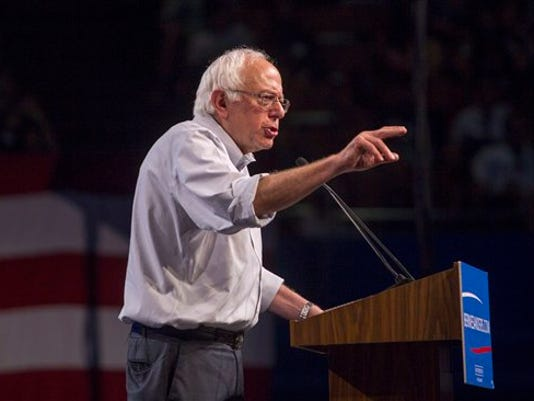 Democratic presidential candidate Sen. Bernie Sanders, I-Vt., speaks at a rally, Monday, Aug. 10, 2015, at the Los Angeles Memorial Sports Arena in Los Angeles.