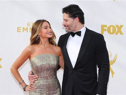 Sofia Vergara, left, and Joe Manganiello arrive at the 67th Primetime Emmy Awards on Sunday, Sept. 20, 2015, at the Microsoft Theater in Los Angeles