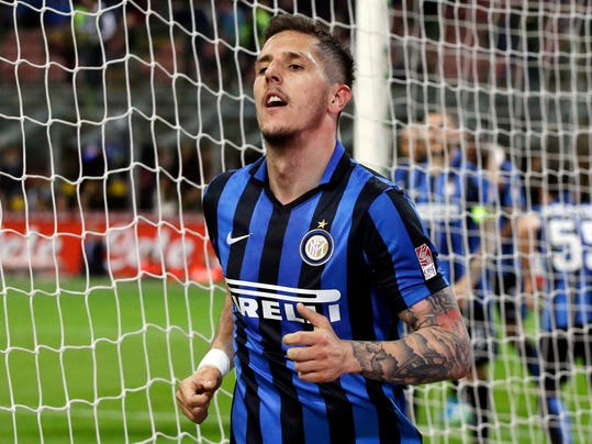 FILE - In this Saturday, April 23, 2016 file photo, Inter Milan's Stevan Jovetic celebrates after scoring during a Serie A soccer match between Inter Milan and Udinese, at the San Siro stadium in Milan, Italy. Stevan Jovetic has regained his sharpness and eye for goal since profiting from an injury to Monaco's top scorer Radamel Falcao. (AP Photo/Luca Bruno, File)