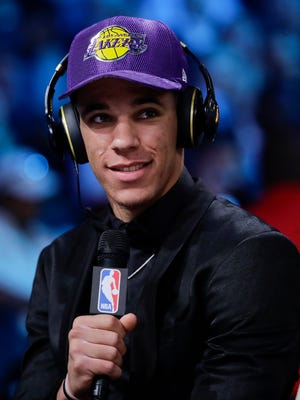 UCLA's Lonzo Ball answers questions during an interview after being selected by the Los Angeles Lakers as the second pick overall during the NBA basketball draft, Thursday, June 22, 2017, in New York. (AP Photo/Frank Franklin II)