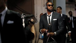 LeBron James of the Cleveland Cavaliers arrives for